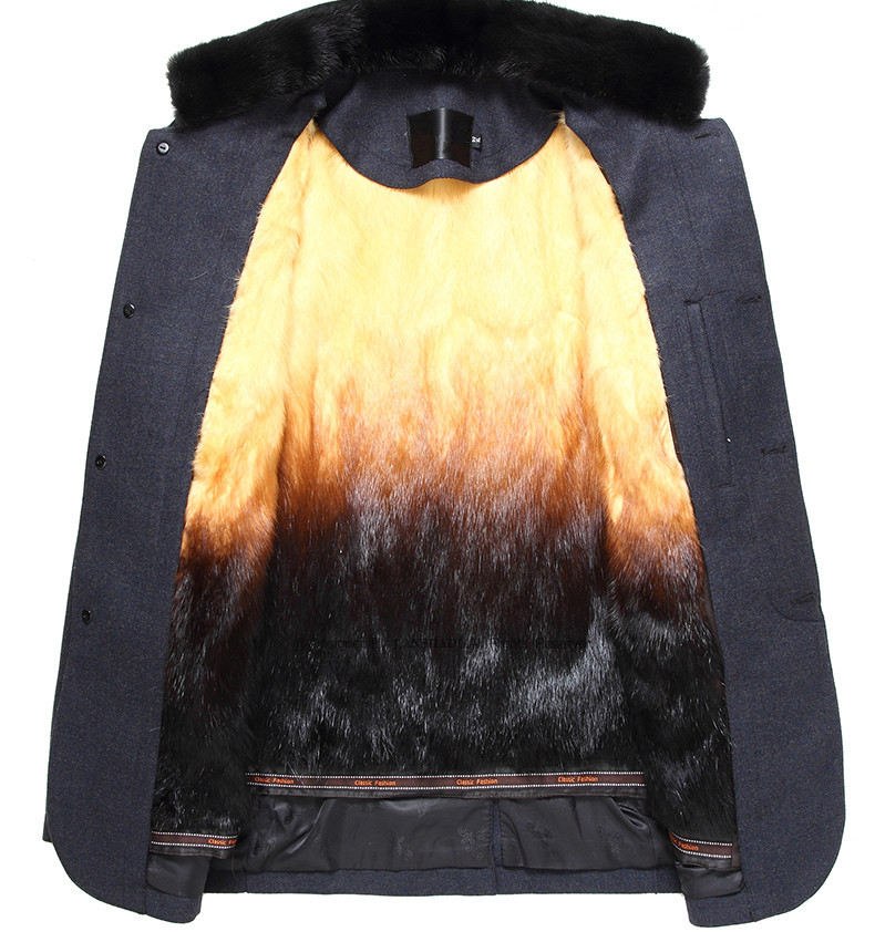 Real Fur Coat Winter Jacket Men Natural Mink Fur Coats Mens Jackets And Coats Woolen Overcoat Abrigo LSY070385 MY1445