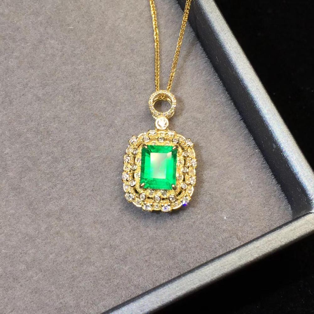 Fine Jewelry Real Pure 18K Yellow Gold AU750 Natural Green Emerald 1.17ct Gemstones Pendants For Women Fine Necklace