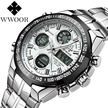 reloj hombre WWOOR Men Military Sport Chronograph Watch Luxury Big Dial LED Dual Display Alarm Clock Stainless Steel Men Watches original big dial megir men watch chronograph quartz stainless steel brand clock business wrist watch luxury men reloj hombre