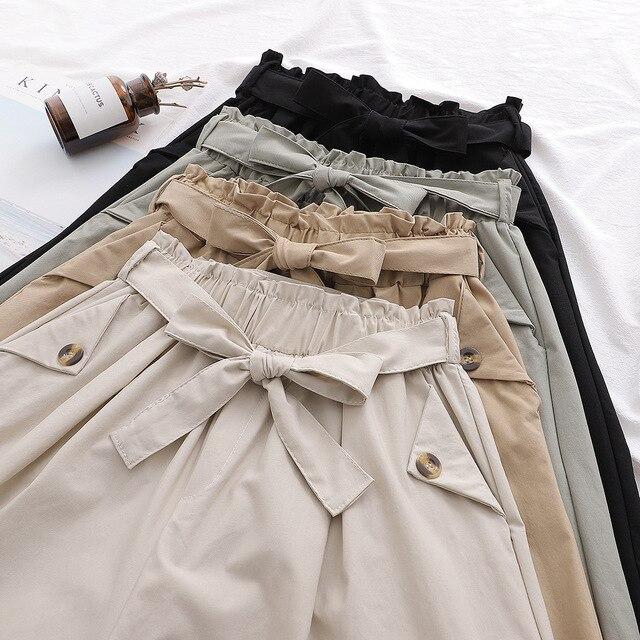 SURMIITRO Fashion 2021 Summer Korean Style Wide Leg Capris Women Short Pants High Waist Shorts Skirts Female With Belt 6