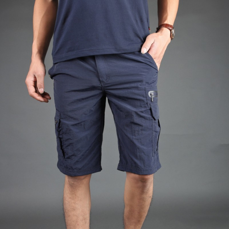 Summer Thin Quickly Dry Men Knee Length Shorts Multi Pockets Safari Short Trousers Male Casual Streetwear Military Shorts 3XL