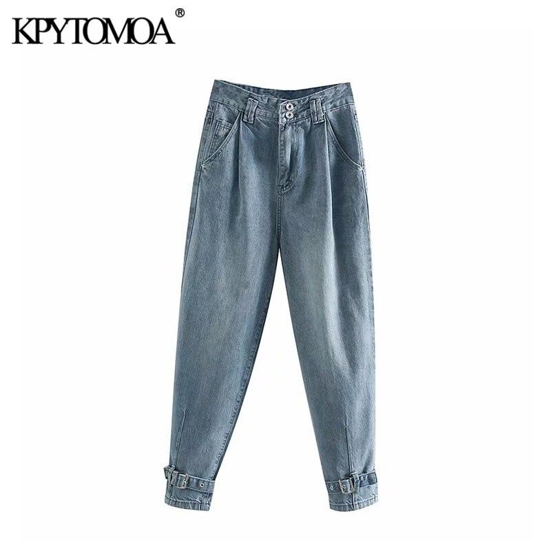 Vintage Stylish Pleats High Waist Jeans Women 2020 Fashion Zipper Fly Adjustable Tabbed Hems Denim Pants Female Trouser Jean