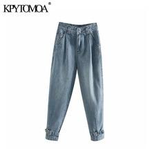 Vintage con estilo plisado alta cintura Jeans Mujer 2020 moda cremallera Fly ajustable dobladillo Denim Pantalones mujer pantalón Jean