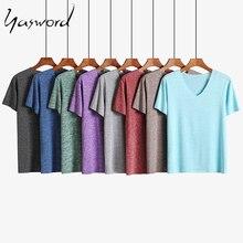 Yasword T-shirt Men Summer Causal Short Sleeve Back Print Fashion 100% Cotton Tshirt Plus Size Brand Clothing