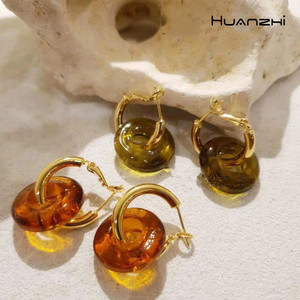 HUANZHI 2020 New S925 Retro Colorful Transparent Resin Hoop Earrings Geometric Round Earrings For Women Girls Party Jewelry