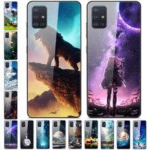 Para Samsung A31 caso de templado de vidrio de moda cubierta trasera rígida para Samsung Galaxy A31 teléfono caso Coque para Galaxy A31 A 31 6,4