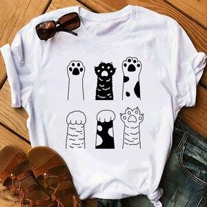 Cute Cats Print Summer Women Tshirt Funny Cartoon T Shirt Female Kawaii Anime Ullzang T-shirt 90s Fashion Korean Style Top Tee