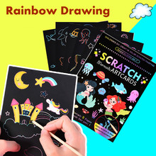 9 pçs magia arco-íris cor riscar arte pintura kit cartão de papel dos desenhos animados dinossauro unicórnio desenho placa crianças diy brinquedos educativos