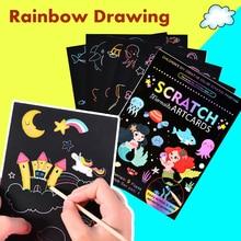 9Pcs Magic Rainbow Color Scratch Art Painting Paper Card Kit Cartoon Dinosaur Unicorn Drawing Board Kids DIY Educational Toys