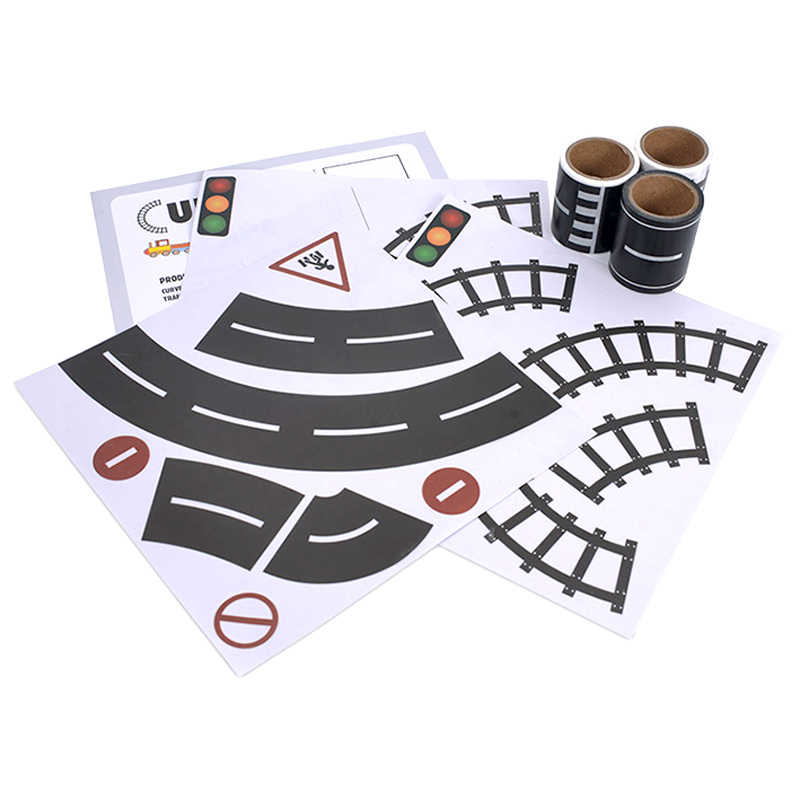 p087 DIY road rail belt sticker road toys children's track scene can be used with car train curve pathway Suitable for car