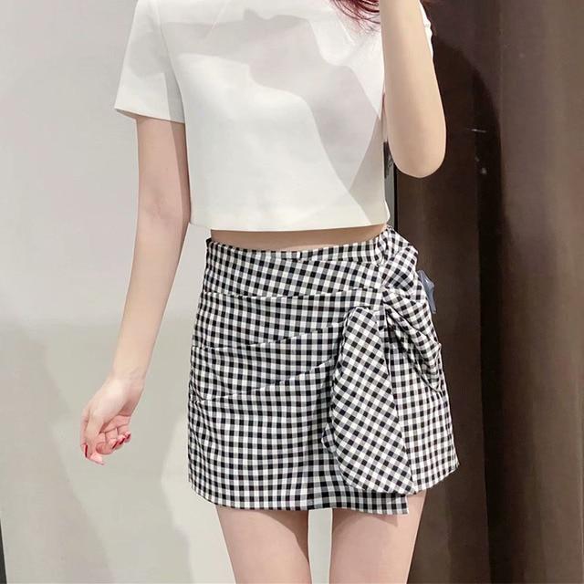 Women 2021 Summer Plaid Shorts Pleated Sashes Bow Tie ZA Fashion Female Street Sweet Shorts Bottons Clothing 4