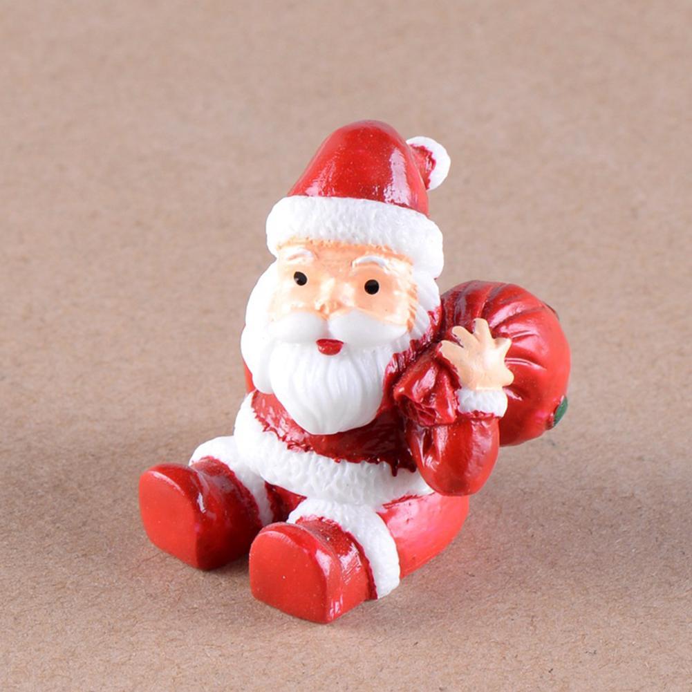 Resin Christmas Santa Dog Animal Figurine DIY Miniature Fairy Garden Accessory Christmas Pendant Great DIY Accessory Dollhouse