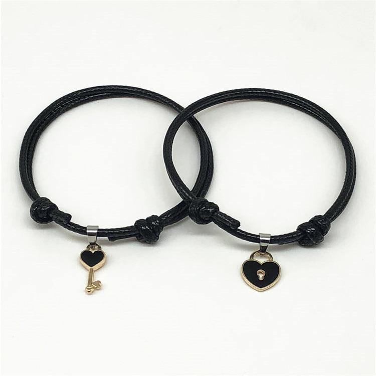 Новое поступление, Шарм-браслет для пар, сплав, ключ, сердце, замок, браслет для женщин, ювелирные изделия ручной работы, веревка для влюбленн...