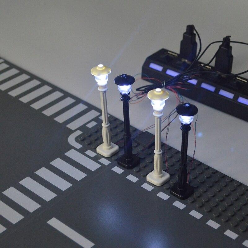 City Street Light Building Blocks LED Light 7 Ports LED USB Light-Emitting Classic Brick Compatible Legoed Education Toy For Kid