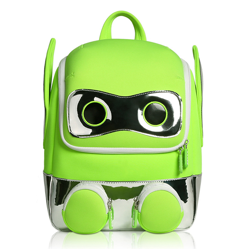 Fashion Fluorescent Green Robot School Bags For Boys 3D Cartoon Design Kindergarten Kids Backpack Girl Schoolbag Mochila Escolar