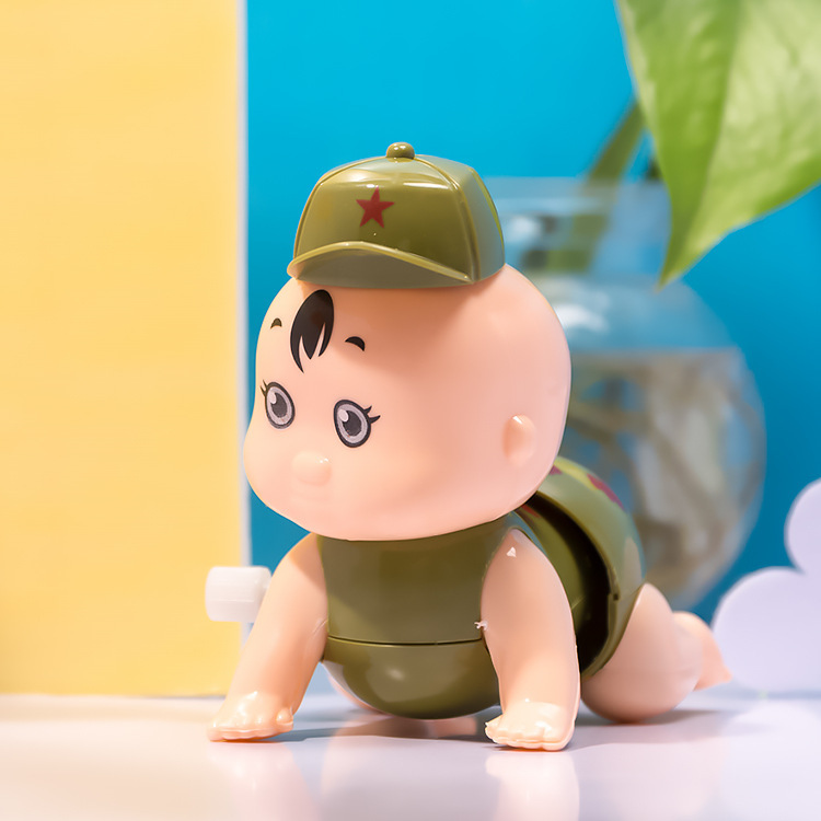 New Style Creative Children 1-3-Year-Old Wind-up Toy Cartoon Winding Crawling Doll Stall Hot Selling Goods