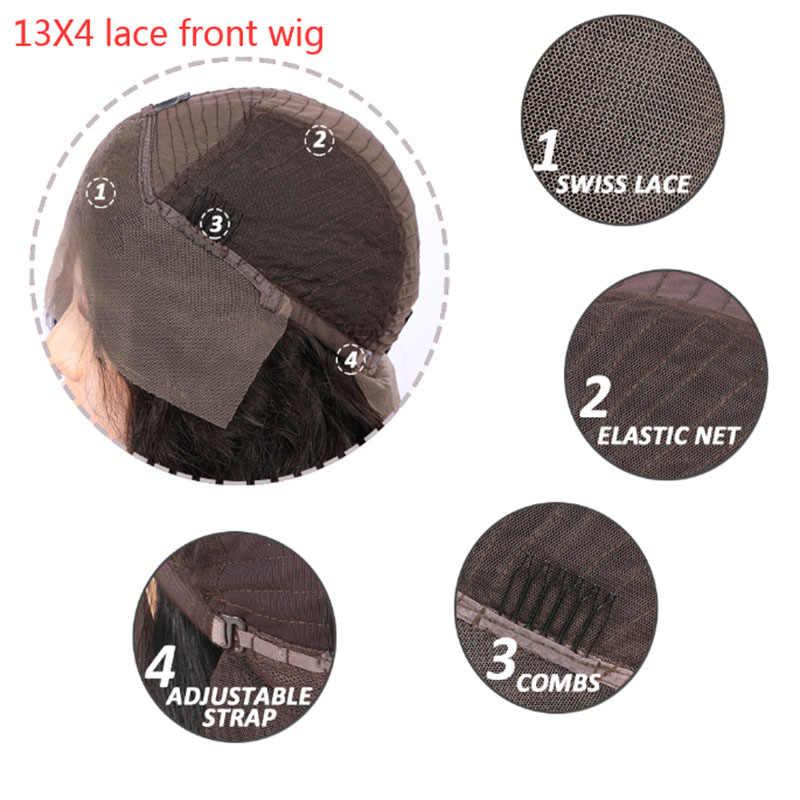 13X4 Natuurlijke Lange Zwarte Soft Paardenstaart Rechte Kant Front Pruiken Hittebestendige Synthetisch Haar Pruiken Voor Zwarte Vrouwen 26 Inch