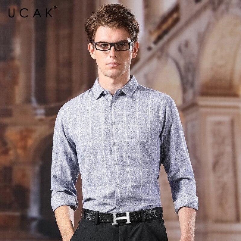 UCAK Brand Shirt Men 2020 New Fashin Arrival Cotton Casual Turn-down Collar Streetwear Plaid Chemise Homme Tops Men Shirts U6014