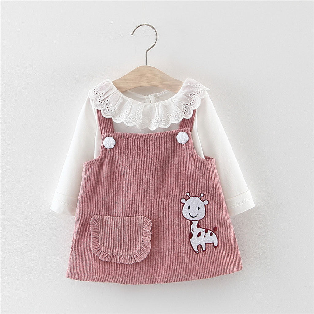 One Pieces Toddler Kid Baby Girl Long Sleeve Floral Polka Dots Party Splice Princess Dress Tops