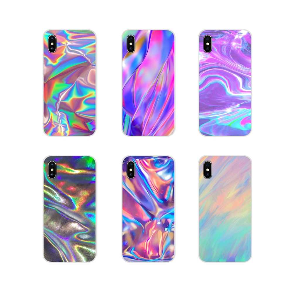 Étuis de téléphone pour Samsung Galaxy A3 A5 A7 A9 A8 Star A6 Plus 2018 2015 2016 2017, accessoires holographiques irisés arc-en-ciel, housse de ...
