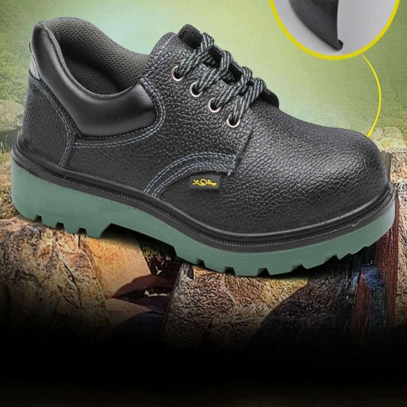 Market-Green Bagu Cowhide Smashing Stab Oil-Resistant Acid And Alkali Resistant Anti-slip Wear-Resistant Waterproof Safety Shoes