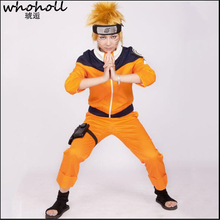 Anime Cos Naruto Uzumaki Cosplay Costume For Boys Girls Show Suits Japanese Cartoon Costumes Top+pants