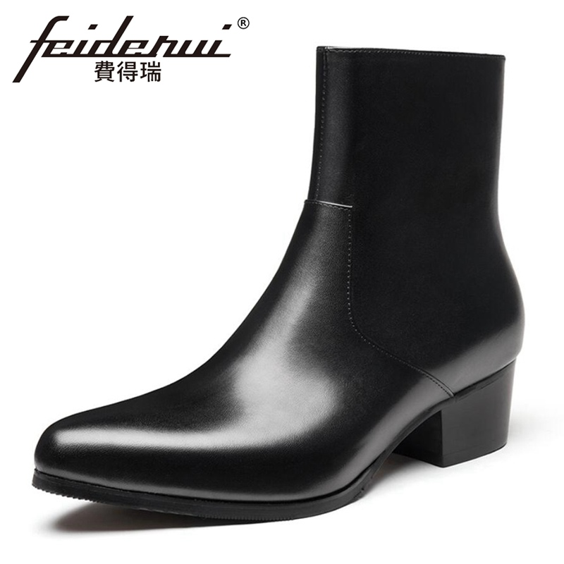 Italian Winter Style Man High Heels High-Top Warm Riding Shoes Genuine Leather Pointed Toe Zip Men's Snow Ankle Boots HQS485
