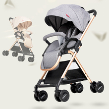 Baby stroller ultra light folding simple children's trolley can sit reclining high landscape cart Dropshipping usa free shipping hjbb high landscape stroller baby can sit reclining folding trolley 4 in 1 with comfortable car seat