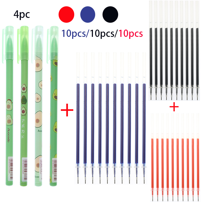 2 Pens Plus 10 Pens / Refill 0.5mm Blue Black Red Ink Gel Pen Non-Erasable Ink Pen School Office Supplies Exam Gel Pen