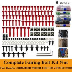 Fit For Honda CBR600RR 900RR CBF100 VFR750 CBR250R CNC Alloy Complete Fairing Bolts Kit Nut Bodywork Screws Clip