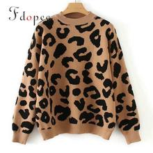 2019 Winter Leopard Print Kintted Sweater Round Collar Casual Plus Size font b Retro b font