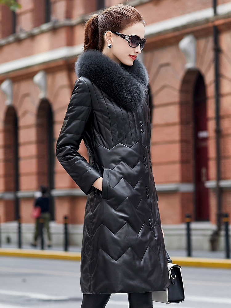 Jacket Leather Genuine 100% Real Sheepskin Coat Winter Jacket Women Fox Fur Collar Long Down Jackets Plus Size MY4031 S