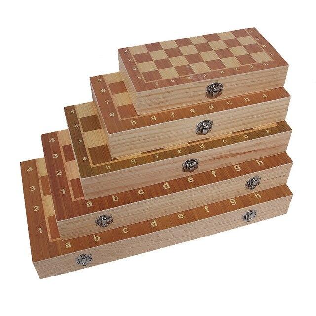 Jeu d'échecs International en bois de haute qualité 24/29/34/39cm, plateau pliant magnétique 4