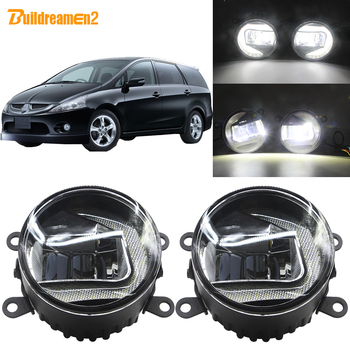 Buildreamen2 2In1 Car 90mm LED Projector Fog Light + DRL Daytime Running Lamp White H11 12V For Mitsubishi Grandis 2004-2011