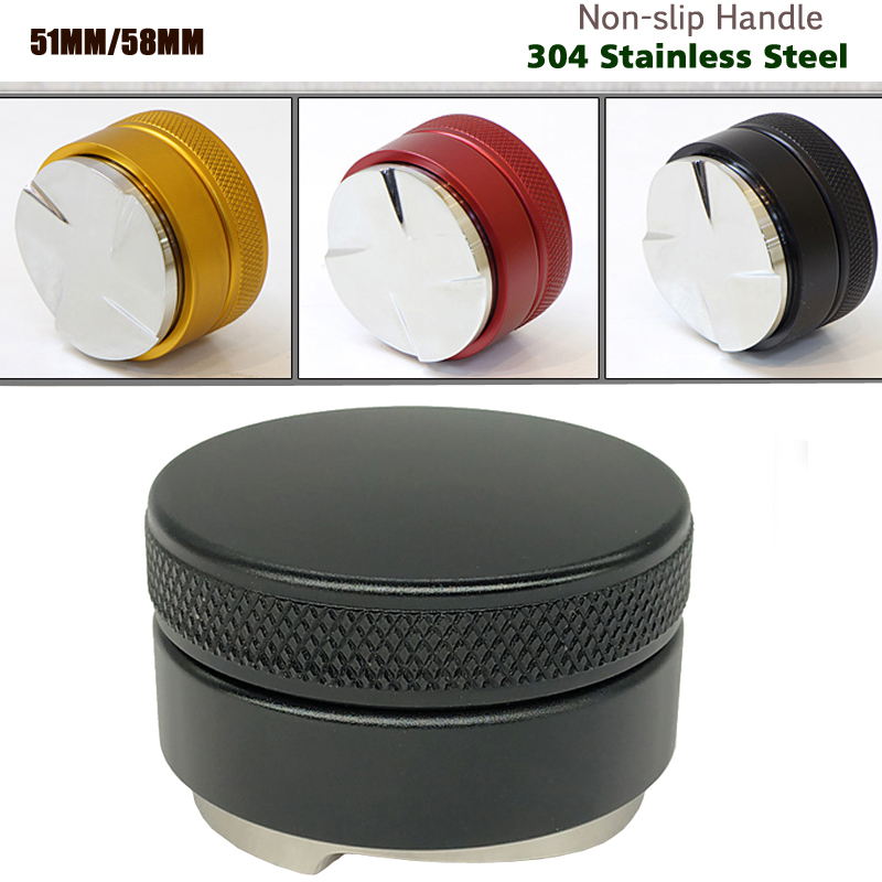 51/58mm 304 Stainless Steel Coffee Tamper Base Clear Body Barista Espresso Coffee Press Coffee Powder Hammer