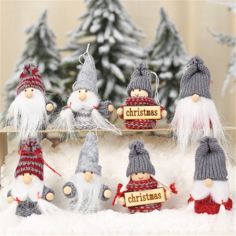 Merry Christmas 2pcs Christmas Tree Decoration Faceless Forest Elf Old Man Pendant 2021 New Year Christmas Decoration Xmas Gift