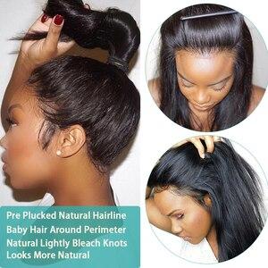Image 3 - Nicelight cheveux raides 360 dentelle frontale perruque brésilienne Remy cheveux perruque pré plissé dentelle fermeture perruque dentelle avant perruques de cheveux humains