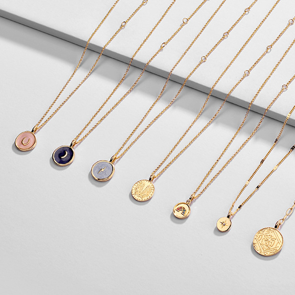 Summer Style Slim Chain Pendant Necklace Moon Star Lightning Crystal Heart Rainbow Pattern Gold Coin Necklaces For Women