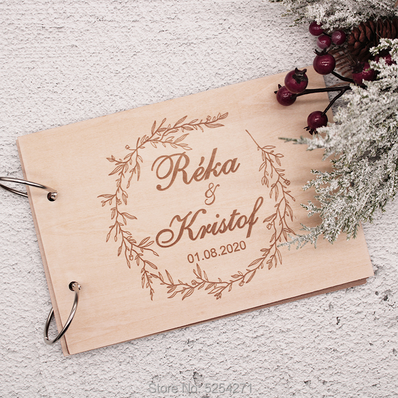 Wedding Guest Book Wood GuestBook Wedding Calligraphy Guest Book Rustic Guest Book Custom Guest Book Wedding Album Engraved