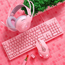 LED Backlight Gaming Keyboard Mouse Combos Cute Pink Wired USB Keyboard 3200DPI Macros Programming Mice Noise Reduction Headset