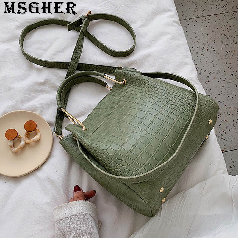 MSGHER Stone Grain Women Bucket Tote Shoulder Bag Large Capacity Practical Concise Style Vintage New 2019 Female Bag WB2914