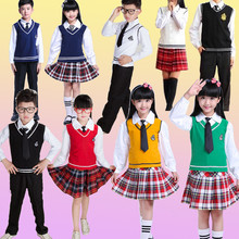Children's School Uniform Clothing and Long sleeve Chorus of primary School Students Reading British student school uniforms children s primary school uniform students chorus costumes clothing short sleeved summer british student school uniforms