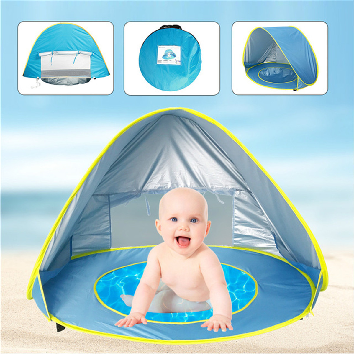 Portable Baby Beach Tent UV Protection Waterproof Shade Tent Pool Outdoor Beach Automatic Pop' Up Sun Shelter For Infant Kids