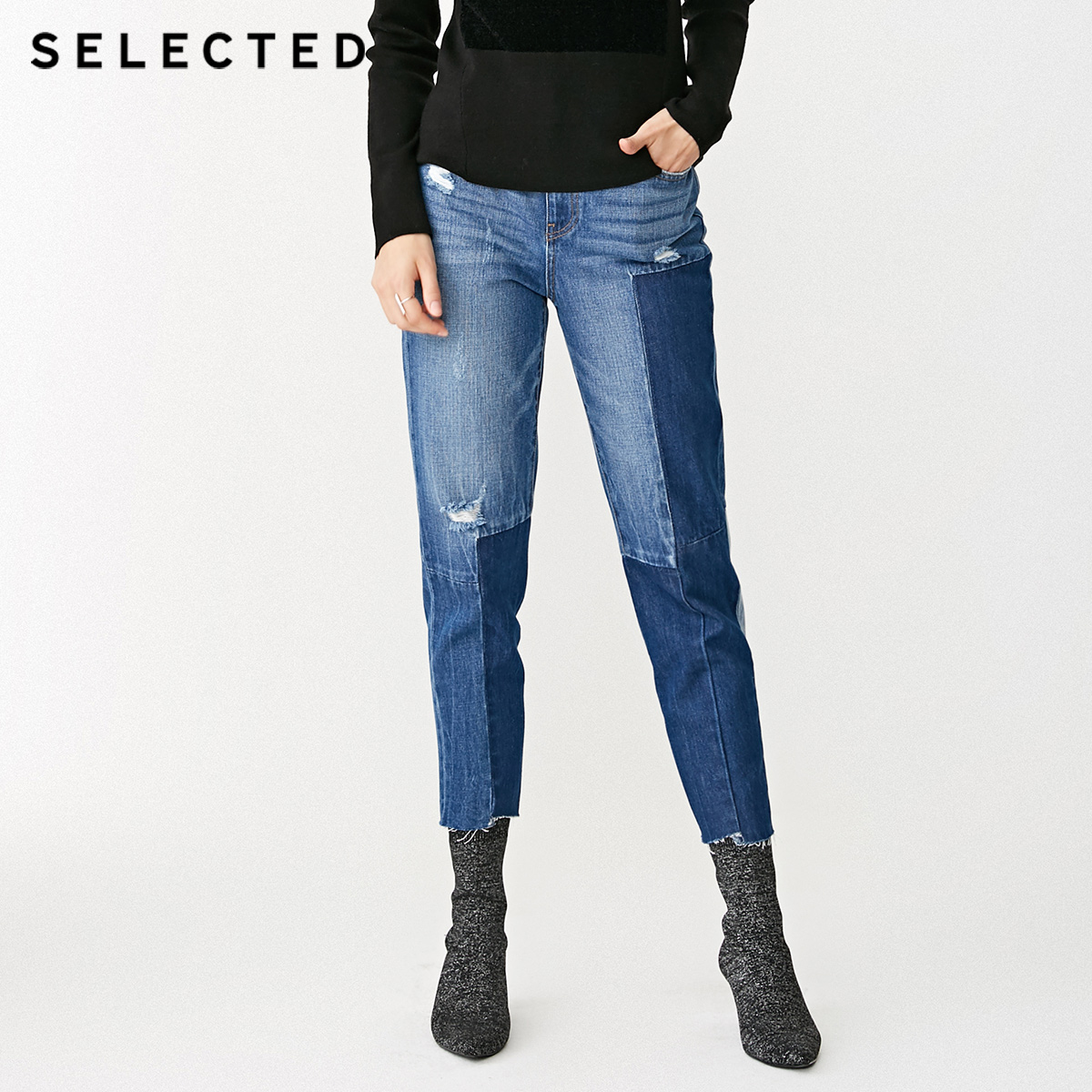SELECTED Women's 100% Cotton Spliced Rips Crop Jeans C|418432516