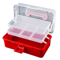 ABSS-3-Layer Foldable Transparent Jewelry Box Food Container Folding Makeup Organizer Storage Box