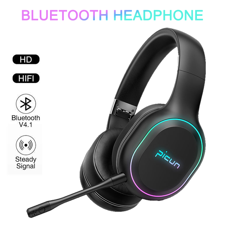 <font><b>Wireless</b></font> & Wired Kopfhörer Bluetooth HIFI LED Licht Starke Bass Stereo Mit Mic Für <font><b>PS4</b></font> Für XBOX Für Xiaomi MI9 redmi Note8 Huawei image