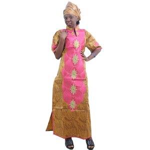 Image 5 - MD Châu Phi Váy Đầm Cho Nữ 2020 Châu Phi Mới Thêu Áo Dài Châu Phi Nữ Dashiki Đầm Đầu Len Nữ Quần Áo