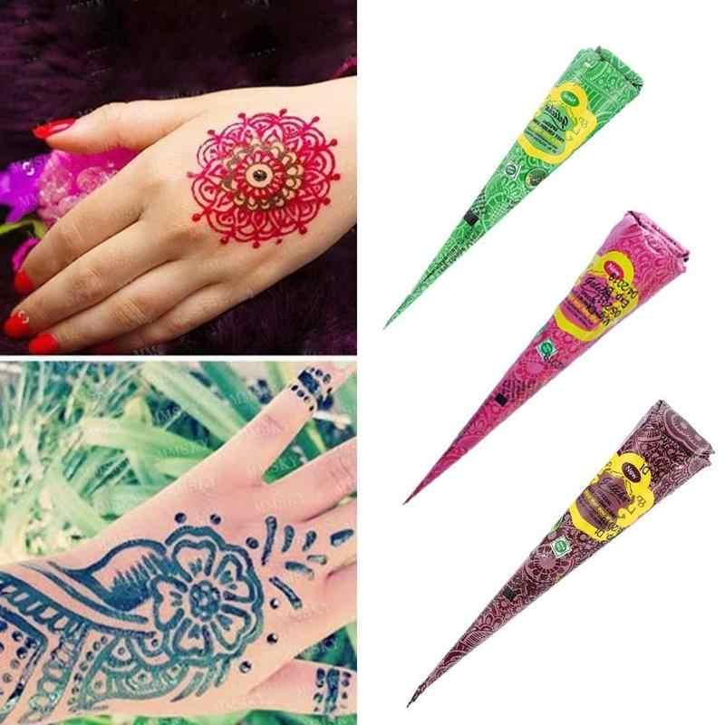 Rood Groen Oranje Blauw Henna Kegels Indian Henna Tattoo Body Art Verf Sticker Mehndi Pasta Tattoo Voor Tijdelijke Body O5K6