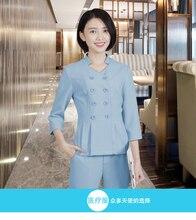 Hotel overalls technician overalls female summer stretch split suit health club temperament fashion dress