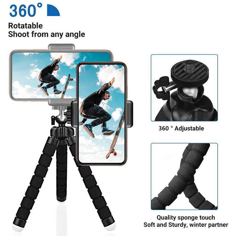 Miniฟองน้ำOctopusขาตั้งกล้อง 360 ° ปรับแบบพกพากล้อง-ใช้งานร่วมกับโทรศัพท์มือถือกล้องกีฬา